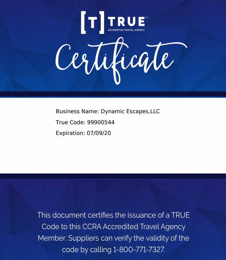 TRUE Acrredition Certificate
