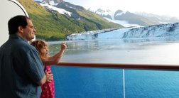 Enjoy Alaska's glaciers from your cruise ship balcony